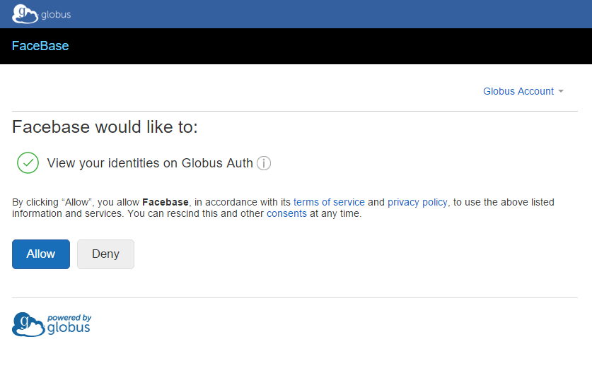 Screenshot of permission screen to allow FaceBase access to your Globus ID.